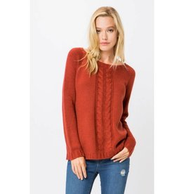 Tell The Difference Cable Knit Open Back Sweater - Rust