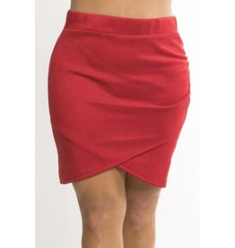 All Work Some Play Faux Suede Tulip Mini Skirt - Red