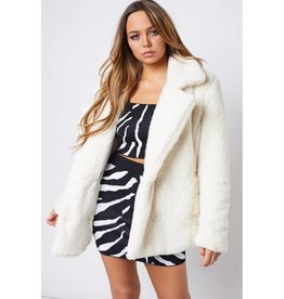 Wrapped In Comfort Fur Oversized Jacket w/Pockets - Ivory