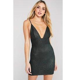 When The Stars Align Deep V-Neck Sleeveless Mini Dress - Black/Green