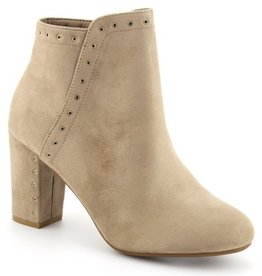 Far From Home Stud Trim Chunky Heel Booties- Beige