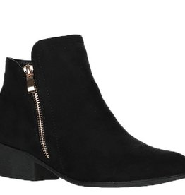 Love Stitch Suede Ankle Booties- Black