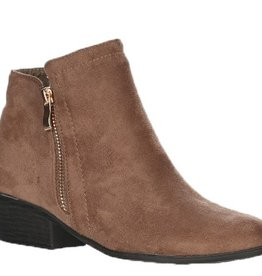 Love Stitch Suede Ankle Booties- Taupe