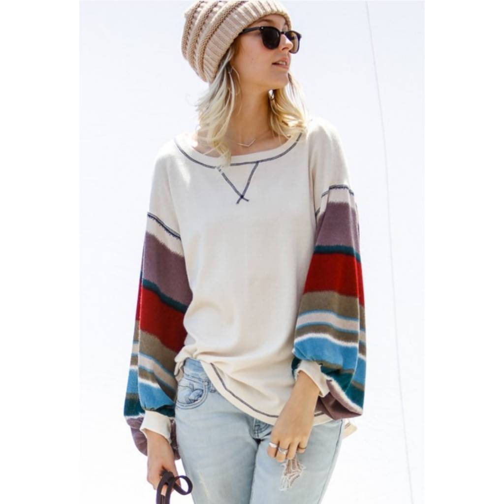 0808f3642ce My Story Invited To Dream Striped Bubble Sleeve Knit Top- Cream ...