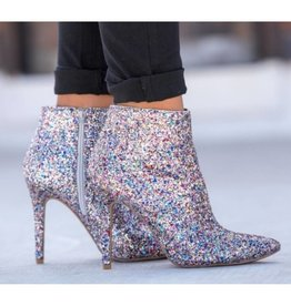 Just Ask Me Ankle Bootie Heels- Multi Color Glitter
