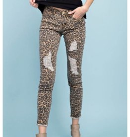 Where My Heart Leads Distressed Skinny Jeans- Leopard