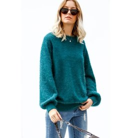 All I Ask Of You Oversize Fuzzy Knit Sweater- Hunter Green
