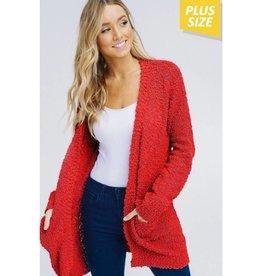 Let's Cuddle Popcorn Knit Cardigan- Red