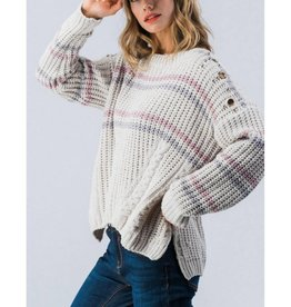 Let's Just Relax Cable Knit Stripe Sweater- Light Grey