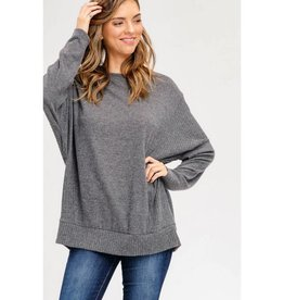 Be Real Dolman Sleeve Top- Charcoal