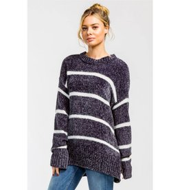 Fill In The Blanks Chenille Knit Sweater- Charcoal