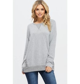 Soft Surroundings Knit Long Sleeve Top- Heather Grey