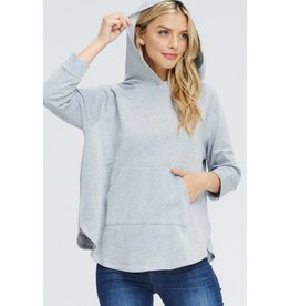 Talking About You Raglan Hooded Top- Heather Grey