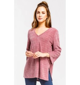 Never Too Late V-Neck Chenille Top- Mauve