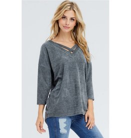 Say Something V-Neck High-Low Top- Charcoal