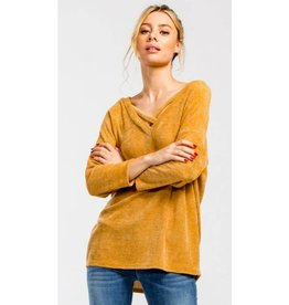 Say Something V-Neck High-Low Top- Mustard