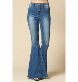 Playfully Retro Flared Bell Bottom Jeans - Denim