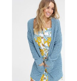 Let's Cuddle Popcorn Knit Cardigan - Sage