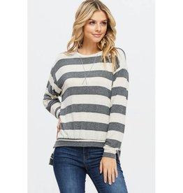 Let Loose Brushed Stripe Hi-Lo Top- Charcoal/Grey