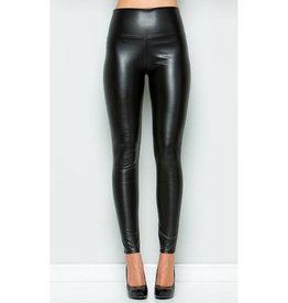 Solid Reputation High Waist Leather Legging- Black