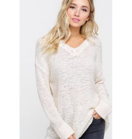 It Comes Naturally Fuzzy Two Tone V-Neck Sweater- Natural