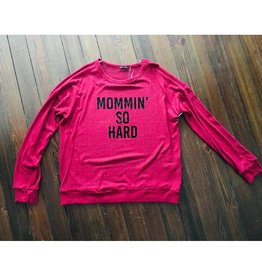 Mommin' So Hard Longsleeve Graphic Knit Top- Red