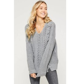 Out And About Lace Up Cable Knit Sweater - Grey