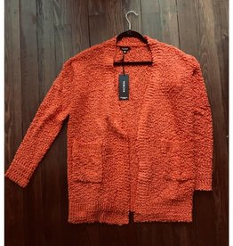 Let's Cuddle Popcorn Knit Cardigan- Rust