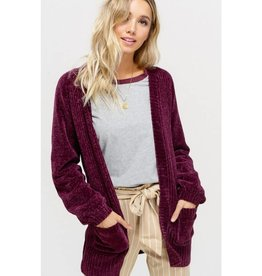 Romantic Revival Puff Sleeve Chenille Cardigan- Plum