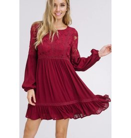 Nervous Love Floral Lace Yoke Dress- Plum