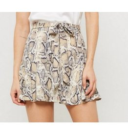 This Is Your Moment Snake Skin Flared Skort- Taupe