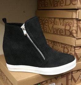 Chic & Sleek Zip Wedge Sneaker- Black/White