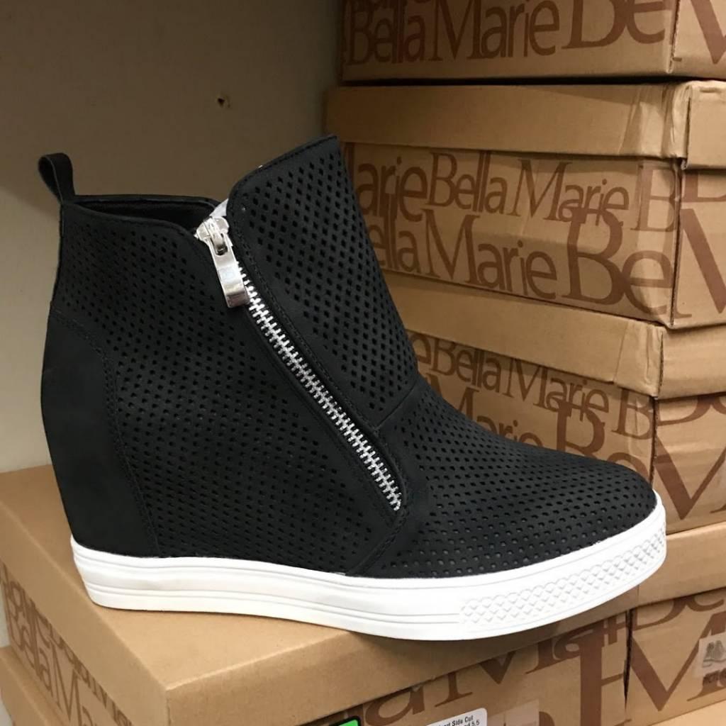 a9107736d639 Ccocci Chic   Sleek Zip Wedge Sneaker- Black White - Cheeky Bliss