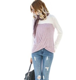 Modern Melody Twisted Knot Front Top- Mauve
