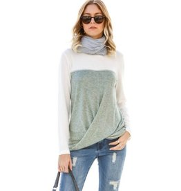 Modern Melody Twisted Knot Front Top- Olive
