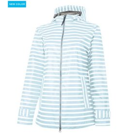 CHARLES RIVER New Englander Stripe Rain Jacket - Aqua/White