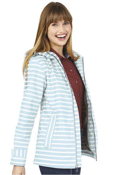 CHARLES RIVER New Englander Stripe Rain Jacket - Aqua/White
