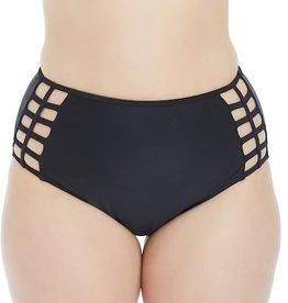 High-Waisted Strappy Bikini Bottom- Black