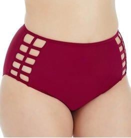 High-Waisted Strappy Bikini Bottom- Raspberry