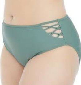 High-Waisted Strappy Bikini Bottom- Olive