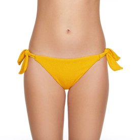 Pucker Up Side Tie Standard Leg Hipster Bikini Bottom- Turmeric