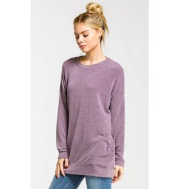 Feels Just Right Long Sleeve Tunic Top - Purple