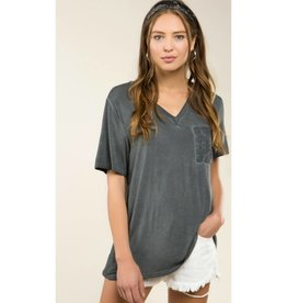 Tried And True Basic V Neck w/ Pocket - Charcoal