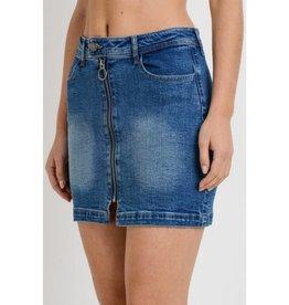 Crazy Days Zip Down Mini Skirt - Medium Wash