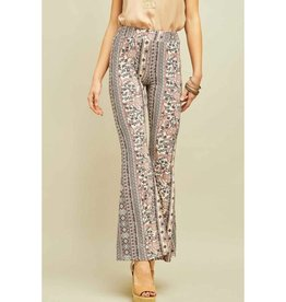 Never Changing Omate Print Flare Pants - Natural