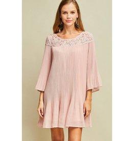 Better Keep Up Solid Pleated Dress - Tea Rose