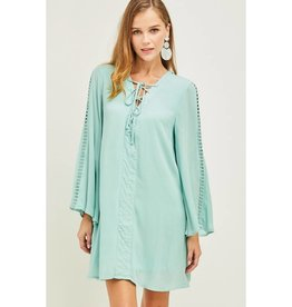 Seemingly Perfect Solid A-line Bell Sleeve Dress - D.Mint