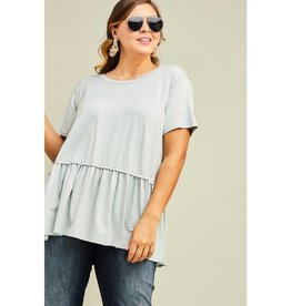 Gets Me Going Solid Scoop Neck Top - Dusty Blue