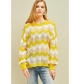 Whatever I Do Crochet Knit Wavy Print Top - Mustard