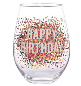 Stemless Wine Glass- Happy Birthday Confetti 30oz